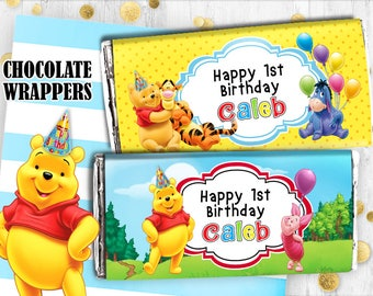 Winnie the Pooh Chocolate wrappers Pooh Hershey wrappers wraps Digital printable chocolate wrappers