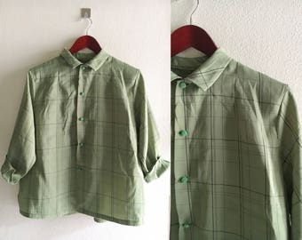 90's Plaid Shirt Button Up Blouse Checkered Print Green Vintage Large -Free shipping