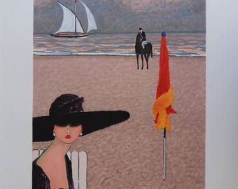 Ramon DILLEY - Lady with Hat - original lithograph #250ex #DEAUVILLE