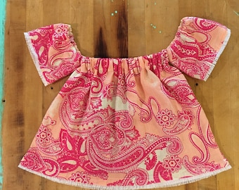 Pink paisley off the shoulder top