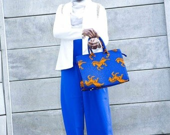 Large Blue Horsey Ankara Bag