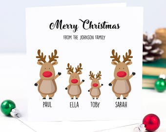 Cute Personalised Family Handmade Christmas Card - Merry Christmas Holiday Card - Christmas Cards -Reindeers