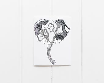 set of 6 Elephant Notecards/ Elephant Greeting Card/ Elephant Print/ Thank you Card Set/ African Elephant/ Black and White Notecards/CC-35