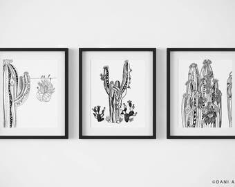 Set of 3 Art Prints/Southwestern Wall Decor/Cacti Wall Art/Desert Print Variety Pack/Black and White Art Print Set/ Nature Illustration