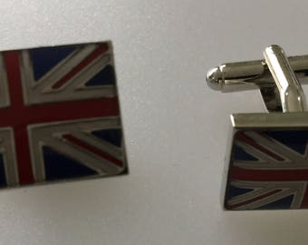 Union Jack Flag Enamel Cufflink Set Boxed