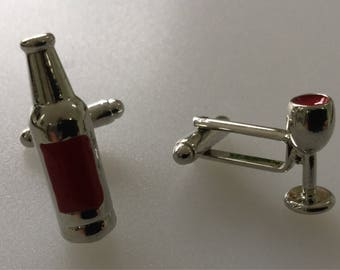 Champagne And Glass Cufflink Set Boxed