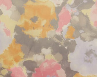 Impressionist Style Floral Satin Fabric - 58 Inches Wide