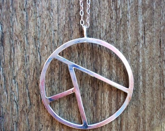 Sterling silver circle geometric pendant/necklace