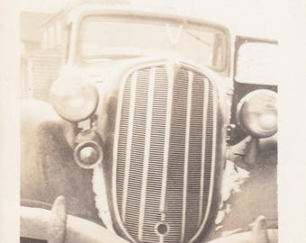 Vintage Close Up Front Grill Classic Car Automobile Antique Vehicle Found Black & White Photo Snapshot Picture Paper Art Abstract Photograhy