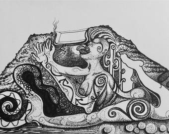 Contemporary Art print signed and mounted print of a pen and ink drawing Mojacar La Vieja III - snake