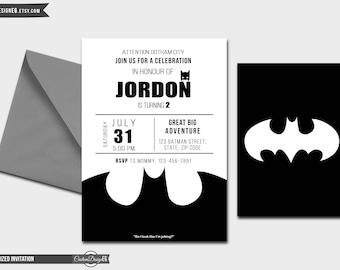Batman Birthday Invitation - Superhero Party - Superhero Invitation - Hero Invitation - Marvel Invitation