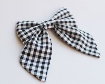 Gingam Sailor Bow | Girls Sailor Bow, Hair Clip, Hair Bow, Toddler Bows, Hair Clips, Girl Hair Bow, Hair Accessories
