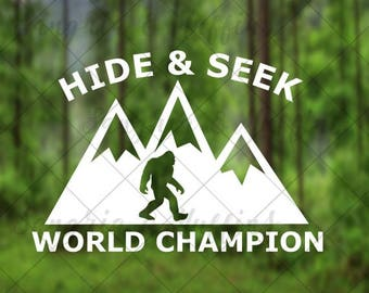 Hide And Seek World Champion Sasquatch mountains decal - car, window, laptop, tablet, cup decal - PNW, Midwest