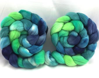 18.5 um, super fine Merino, 4 oz, wool top, hand-dyed, hand painted, blue, green, felting, spinning fiber, boffo fibers, boffofibers, boffo