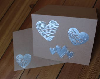 Hearts Blank Inside Card Set of 10 - Heat Embossed Silver on kraft paper, Blank Inside