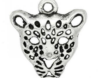 SET of 5 charms (E16) silver Cheetah leopard head