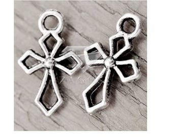 SET of 10 charms silver cross religious communion baptism (A31)