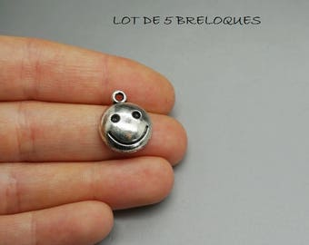 SET of 3 silver charms, smiley smile head (C74)