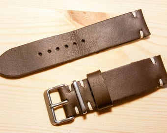 Brown leather handmade watch strap 22mm.FREE SHIPPING