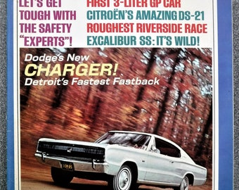 CAR & DRIVER MAGAZINE Issue From February 1966... New Dodge Charger...Miss Hurst Golden Shifter...Pontiac G T O...And More!