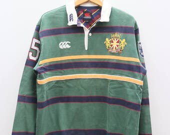 Vintage CANTERBURY Of New Zealand Green Polo Rugby Shirt Size XL