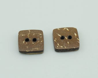 50pcs 10mm Square Wood Buttons,Wooden Buttons NK025