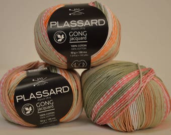 "Plassard ""Gong"" Orange/green Jacquard cotton"
