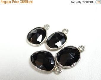 57% Celebration Sale-- Black spinel faceted sterling silver pendant/17x10mm
