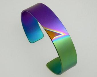 Anodized titanium bracelet cuff 15 mm wide. Titanium jewelry.