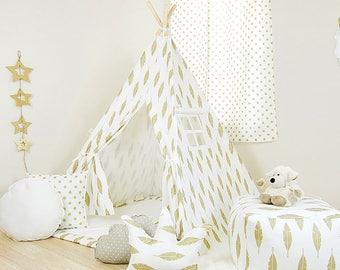 Athena Gold Feather Teepee / kids teepee tent / childrens teepee / play tents / play teepee / teepee play tent / nursery teepee