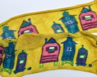 Beach Houses - hand painted sock blank