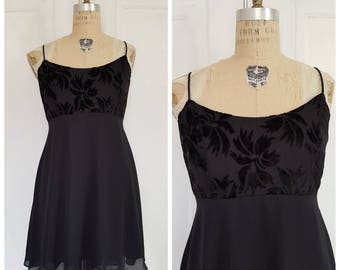 Vintage 90s black chiffon and velour floral burnout spaghetti strap evening dress, fit & flare short romantic dress, size medium