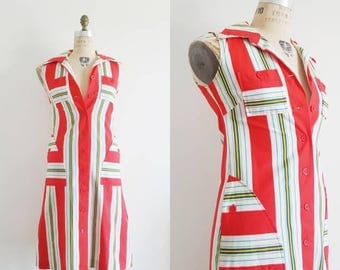 Vintage 70s, 1970s retro red & white striped shift dress, MOD shirt dress, button up cotton day dress, Petri of Sweden, size small