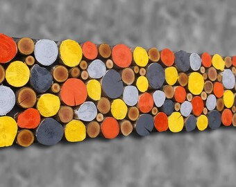 12x48 Tree Branch Slice Wooden Wall Art Painted Wooden Wall Sculpture Rustic Tribal Decor yellow  grey orange CUSTOM MADE