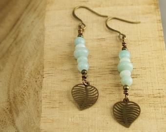 Amazonite and Leaf Drop Earrings - Antique Brass, Gemstone Earrings, Leaf Earrings, Boho Earrings, Bohemian Earrings, Long Earrings