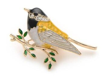 Beautiful Oriole Bird Brooch Pin Fashion 2018