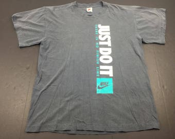 Vintage 90s Nike gray tag Just Do It t-shirt mens L swoosh logo there is no finish line running sprinting jogging track
