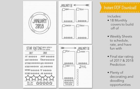 Printable 2018 Bullet Journal Planner Template Sheets Bujo