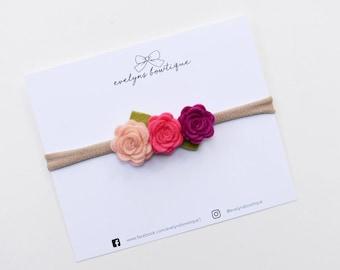 Peach Rasberry Tea | Baby felt flower crown, newborn flower crown, newborn photo prop, flower headband, felt flower headband,