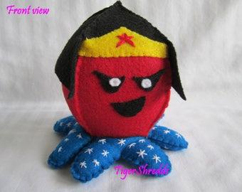 Wonder Woman Plushy; Custom Plushie; Stuffed Plush; Wonder Woman; DC Comics; DC Comics Stuffed Animal; Toy; Stuffed Octopus; Super Hero