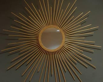 "15"" Sunburst Mirror, Gold, Silver, Elegant Home Decor, Feng Shui, Rope Mirror"