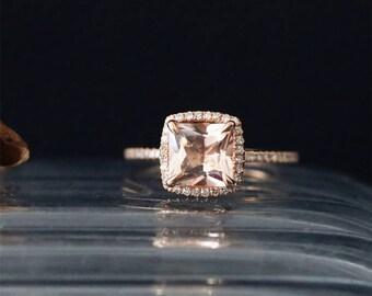 Natural 7mm Princess Cut Peach Morganite Ring Halo Ring Gems Bridal Ring Stackable 14K Rose Gold Morganite Engagement Ring Anniversay Ring
