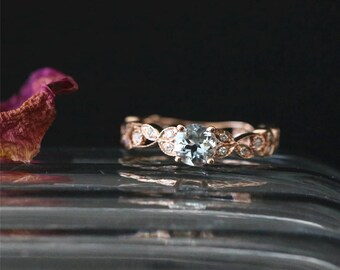 Eternity Art Deco Ring Natural 5mm Round Cut Aquamarine Ring March's Birthstone Ring Bridal Ring 14K Rose Gold Aquamarine Engagement Ring