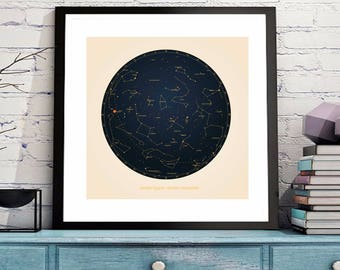 Anniversary Gift for Him, Anniversary Gift for Her. Unique wedding gift.  Personalized star constellation.| Sky map | Sky chart | Stars