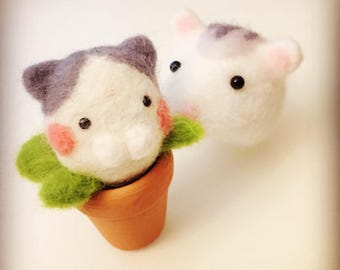 Handmade Kitty flower with flowerpot decoration