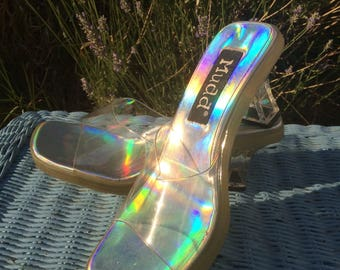 Vintage 90s Clear Holographic Mudd Sandal Heels / Size 8.5