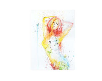 Multicolour Female Nude Artwork on paper - Pink, Yellow, Blue Coloured Art of Nude Woman wearing Chanel Necklace