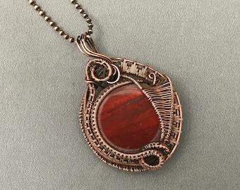 Copper wire wrapped fire Agate gemstone pendant