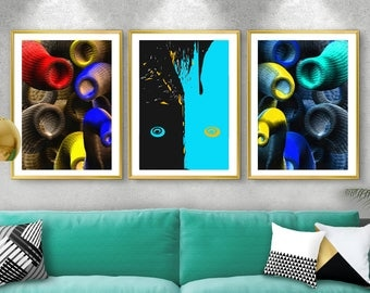 set of three digital artworks-print-digital artwork-wall-decoration-illustration-