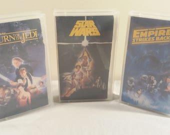 Original VHS Set of Star Wars: 1977 Star Wars, 1980 Empire Strikes Back, and 1983 Return of The Jedi